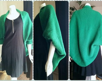 Green Knit Shrug, Vintage Hand Knit Green Shrug Shawl, Shawl with Sleeves, Women's Green Knit Sweater, Green Slouchy Cardigan, Free Size