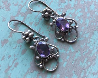 Vintage Sterling Silver & Amethyst Earrings