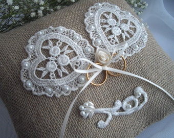 Heart Ring Bearer Pillow Keepsake Ring Pillow Two Lace Hearts Burlap Lace Pearl Bead Handmade by handcraftusa Etsy