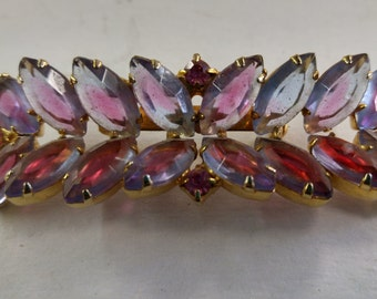 Vintage Alexandrite Rhinestone Givre' Brooch Pin Lavender Opal Navettes Bar Jewelry #C145