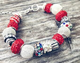 Red European Beaded Bracelet - MY LIFE SERIES by Precision Princess