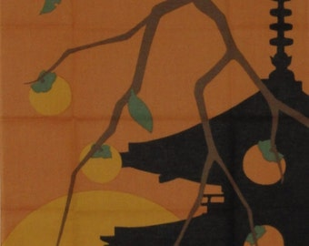 Japanese Art Fabric Cotton Tenugui 'Persimmons and Pagoda' w/Free Insured Shipping