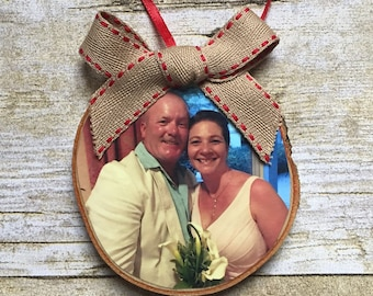 Last Name Photo Ornament | Custom Photo Ornament | Personalized Wood Ornament | Christmas Ornament | Hand lettered | Rustic Decor