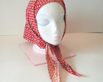 Vintage Red Patterned Head or Neck Scarf