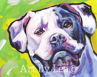 American Bulldog art print of pop art dog painting by LEA bright colors 8.5x11""