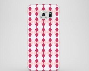 Pink Argyle phone case, iPhone X, pink Samsung case, Samsung Galaxy S7, Samsung Galaxy S6, Samsung Galaxy S6 Edge, Samsung Galaxy S5