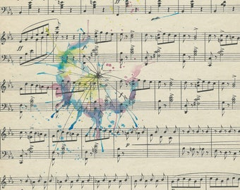 Original Watercolor Dandelion Painting, Vintage Sheet Music Art, Flower Painting, Sheet Music Flower Watercolor Painting, Original Art