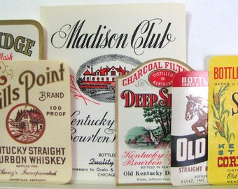 1950s Old Kentucky Sour Corn Mash Bourbon Whiskey Bottle Labels Lot