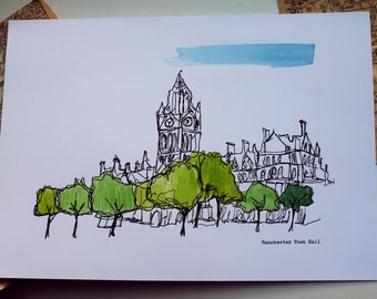 Manchester Town Hall A4 Illustration | Printed Illustration with Hand Painted Watercolour