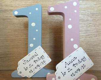 Personalised 1st birthday gift- handmade wooden number one for first birthday memory keepsake