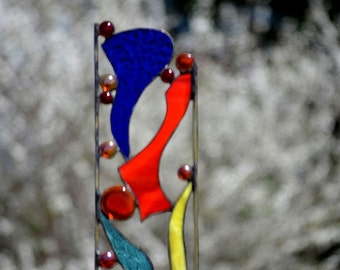 Garden Sculpture, Stained Glass, Colorful Yard Art, 'Hooray'
