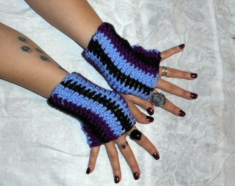 Midnight Sky Boho Crochet wrist warmers Fingerless Gloves Dark Orchid purple lavender cosmic sparkly black striped Handmade Ooak Victorian