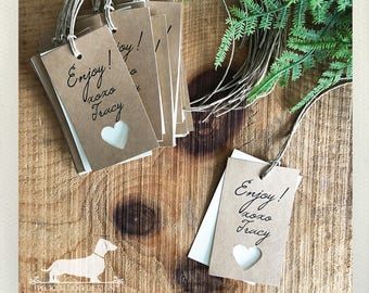 DOLLAR DEAL! Tracy. Rectangle Heart Gift Tags (Set of 20) -- (Brown Kraft, XOXO, Bridal Shower, Rustic Chic, Cute, Simple, Love, Under 5)