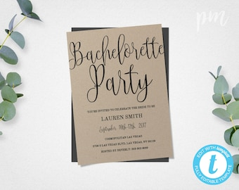 Bachelorette Party Invite Template, Printable Rustic Kraft Bachelorette Party Template, Bachelorette Party Invitation, Instant Download