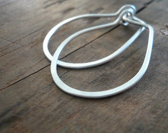 Horseshoe Hoops - Handmade. hand forged. Sterling Silver or 14kt goldfill Earrings