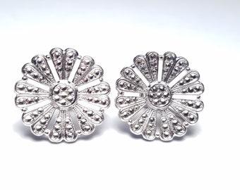 Sterling Silver Earrings - Vintage Art Deco Style Marcasite Screw Backs - Flower Fan Motif