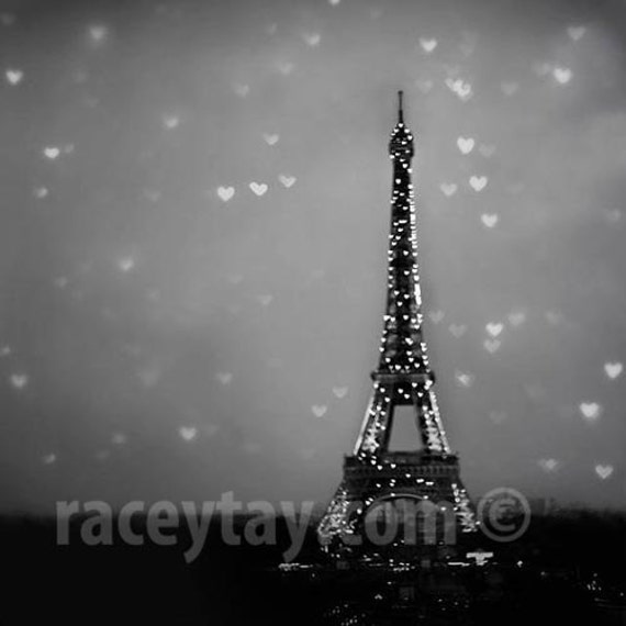 Paris print eiffel tower hearts black white photography
