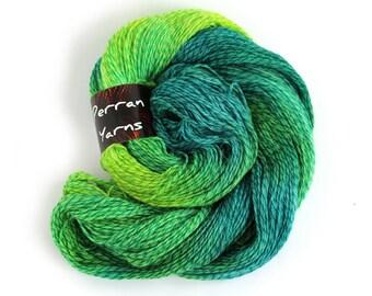 Hand dyed 4ply merino tweed, Perran Yarns Abundance, fingering crochet sock yarn, teal blue lime emerald green variegated skein, uk seller