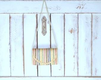 Vintage tan striped straw envelope shoulder purse/woven rattan shoulder bag/woven raffia handbag