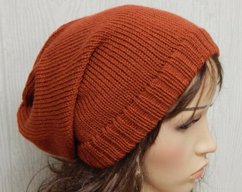 Knitted slouch hat, women's baggy hat, knit slouchy beanie, handmade slouch hat, knitted hats, gift for her, CHOOSE COLOUR and SIZE