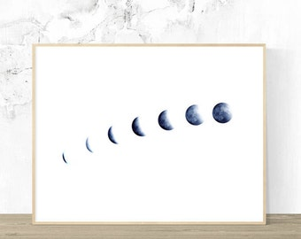 Moon Phases Wall Art, Printable Art Digital Download, Wall Art, Planet, Contemporary Art, Blue Art, Home Decor, Study Art, Zen Art