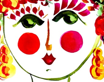 Meet Poppy! Portrait of  Flower Girl - Carmen Miranda Inspired Face - Print from Original Watercolor Painting by Suzanne MacCrone Rogers