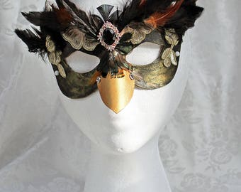 Feather Leather Bird Mask, Black Brown Gold Leather and Feather Masquerade Mask, Leather Bird Mask