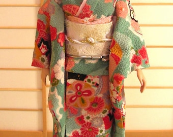 doll clothes aqua green kimono set for Silkstone Barbie and other similar dolls handmade