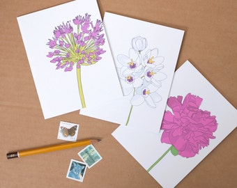 Floral Note Cards Set of 3 // Illustrated Flowers // Note Card Set of Three // Flower Stationery // Gift for Gardeners
