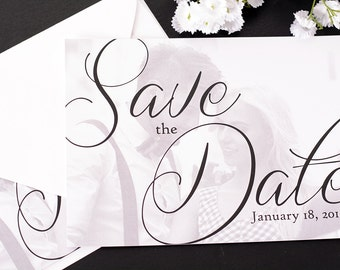 """Stylish Script - Save The Date Cards - 5"""" x 7"""" Wedding Announcement Cards - Save The Dates - Personalized Save the Dates - Photo Cards"""