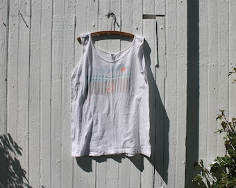 1980s cape cod graphic tank, beach tank, muscle tank, jersey knit, cotton, extra large, oversized, beach scene, white, usa, on white design