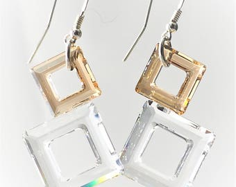 Geometric crystal earrings