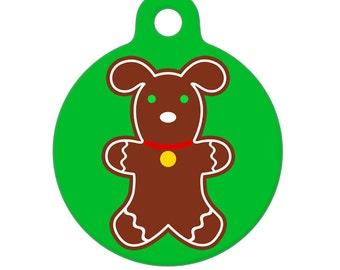 Pet ID Tag - Gingerbread Puppy Pet Tag, Dog Tag, Luggage Tag, Child ID Tag