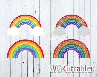 Rainbow svg, Rainbow Cut file, Rainbow with clouds, glitter rainbow, Silhouette file, cricut cut file, digital download
