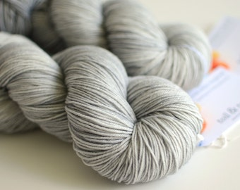 "Hand Dyed Sock Yarn -  Fingering Weight - ""Smoke Signals"" - Light Pigeon Gray"