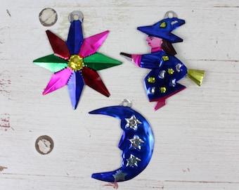 Moon- Handmade Mexican Tin Ornaments (Set of 3)- Home Decor- Holiday- Cinco De Mayo- Christmas Tree-Fiesta-Religious-Witch-Moon-Star-Holiday