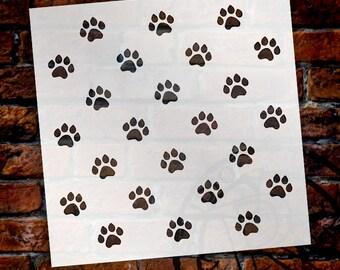 Paw Prints-Pattern Stencil-Select Size-SKU:STCL705
