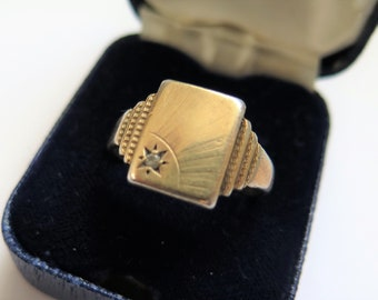 Art Deco Ring 9ct Gold On Silver With Geometric Detail And White Stone
