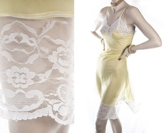 As new superb really sheer silky soft rich lemon Perlon and delicate white floral design lace detail 50's vintage full slip petticoat - 4283