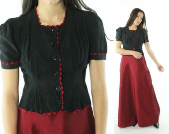 Vintage 40s Blouse Short Puff Sleeves Button Up Shirt Black Red Top 1940s Small S Pinup Rockabilly
