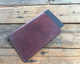 LEATHER FIELD NOTES Cover - Hand Dyed Dark Mahogany - Veg Tan Leather - Choice of Thread Colour - Hand Stitched