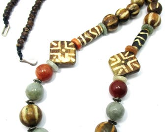 Designed handmade ethnic Asian contemporary pumtek bead Petrified Wood Bead fossil palm wood,Jade coconut shell beads necklace