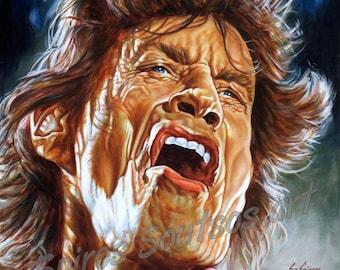Mick Jagger, Rolling Stones   Canvas Print, Wall Art, original painting portrait