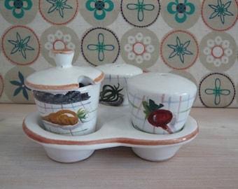 Italian Cruet Set Vegetable Design Salt and Pepper Pots and Lidded Mustard Pot Retro Vintage Mid Century 1950's