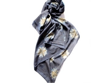 Black scarf silk scarves gift for her SAMPLE SALE hand dyed block print wrap Boho Cotton scarf women anniversary gift - Dreamcatcher