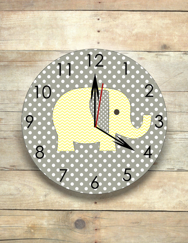 elephant nursery elephant clock gray and yellow safari clock