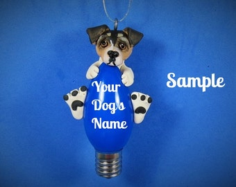 Tri-color Jack Russell Terrier Dog Christmas Holidays Light Bulb Ornament Sally's Bits of Clay PERSONALIZED FREE with dog's name