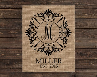 Burlap Print Personalized Fabric Art Wall Decor - Monogram Family Name and Established Date (#1062B)