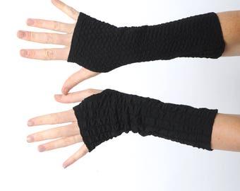 Black fingerless gloves, Black textured jersey fingerless gloves, Black wrist warmers, Jersey wristwarmers, fingerless armwarmers, MALAM