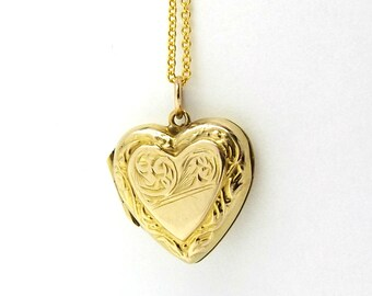 9k Gold Heart Locket Necklace | Small Vintage 9ct Back And Front Locket Pendant On A Chain